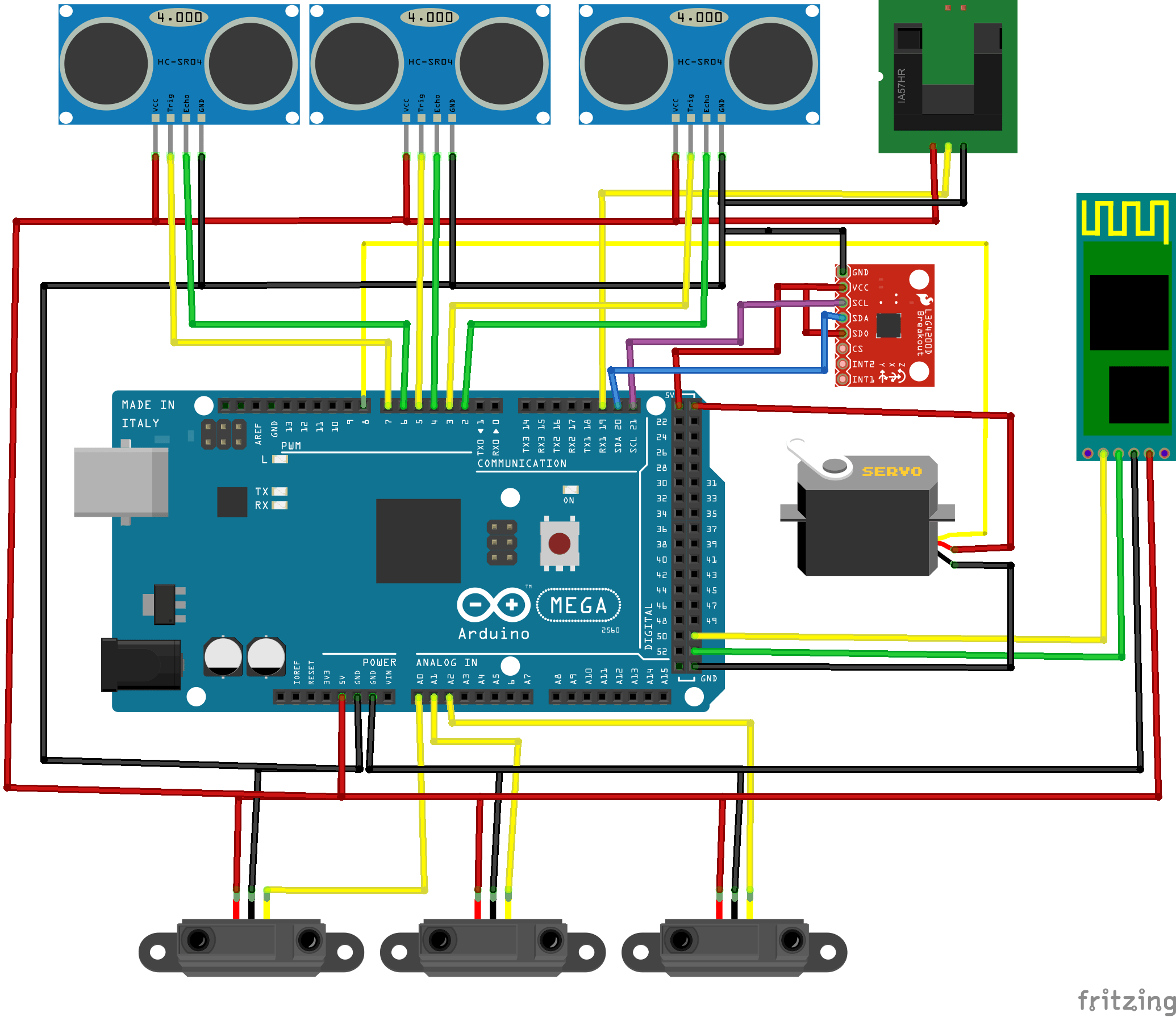 Build Your Own Android Powered Self Driving R C Car Make Guide To Be An Electronic Circuit Design Engineer Rc Another Way Visualize The Sensor Wiring Of Autonomous