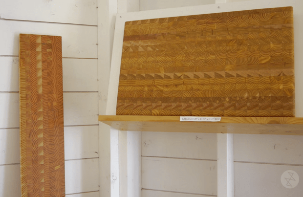 larch cutting boards on display