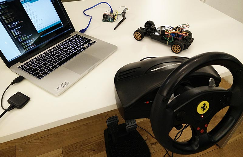 Driving an rc car with arduino and a usb racing wheel make