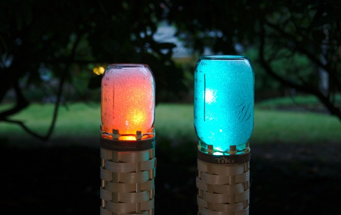 Mason Jar LED Tiki Torches Glow Any Color