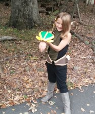My daughter Anna cosplaying Cleome from Wakfu.