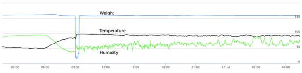 Graph of beehive sensor data