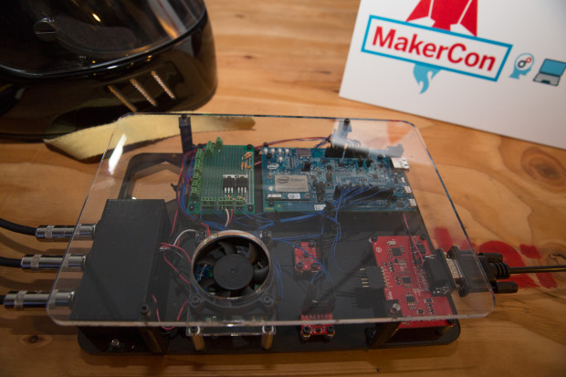 The electronics board for the Mechanek has an Intel Edison board, an interface for a car's OBD-II port, and various sensors.