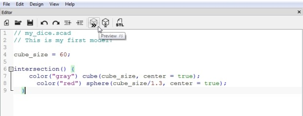 Use the intersection command to round off the edges of the cube.