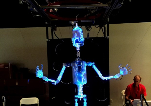 At the World Maker Faire in New York, PlasmaBot moves as a marionette.