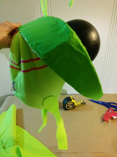 1-Mantis_Headpiece-Beanie-with-chinstrap-mount_PLEASENOTE-all-showing-styrofoam-and-carboard-painted-with-acrylics-and-polymer-clear-coat-for-water-repellence