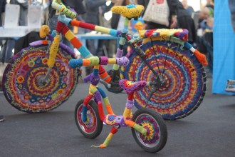 Knit-decorated bikes.