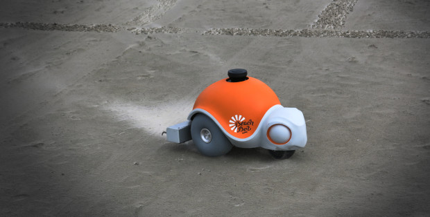 Disney's Beachbot robotic turtle draws pictures in the sand using a controllable, pressurized rake and laser scanner.