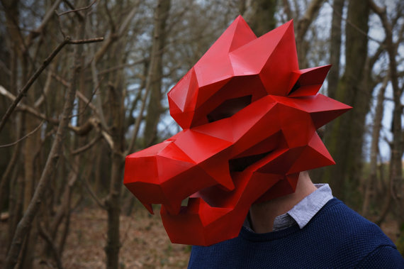 Fold These Amazing Geometric Animal Masks from Cardstock