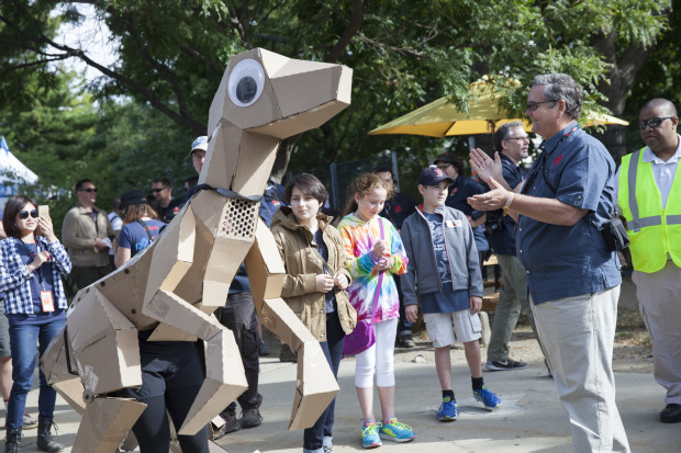 Welcoming guests to Maker Faire with KitRex (photo: Becca Henry)