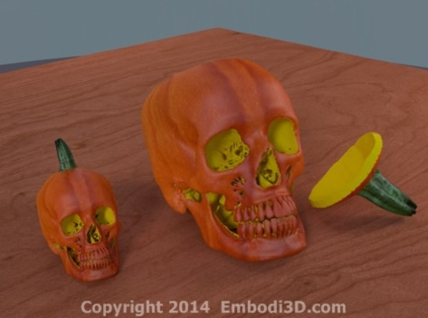 Embodi3D's Jack O' Lantern is 3D printed using an actual CT scan- creepy.
