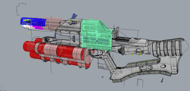CAD design of the railgun. Everything in grey was 3D printed.
