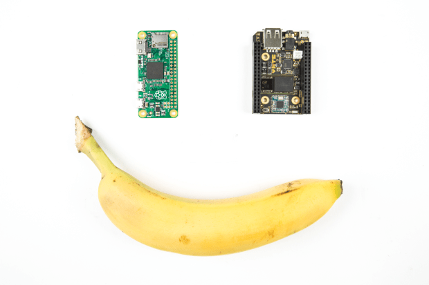 $5 Pi Zero and $9 C.H.I.P. with banana for scale. Photography by Hep Svadja