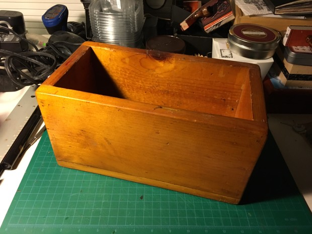 My beloved, homely little wooden box, sloppily but earnestly made in high school shop class 41 years ago. It's played a part in my life ever since.