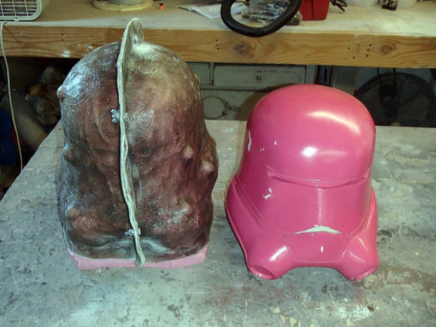 Final mold assembly along with the first helmet prototype