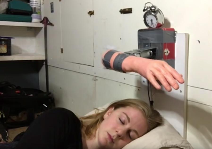 "Slap Yourself Awake with This Ridiculous ""Wake-Up Machine"" Alarm Clock"