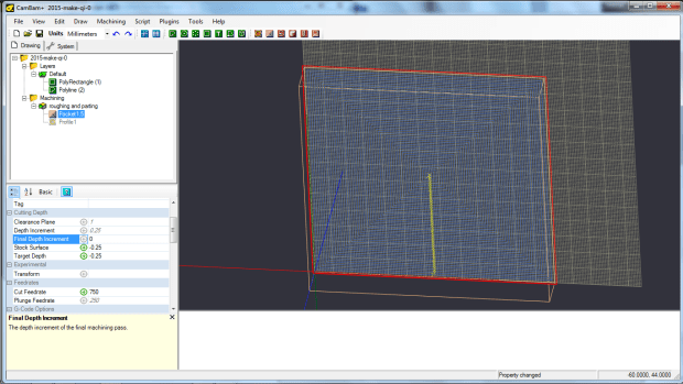 c - entering the stock dimensions into CAD