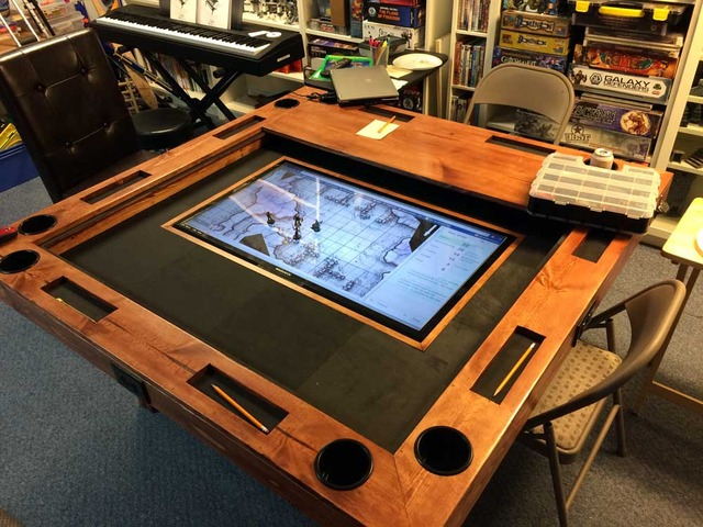 how to build a high end gaming table for as little as 150 make rh makezine com tabletop gaming tablet tabletop gaming table kickstarter