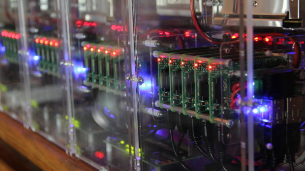 A 100-node cluster of Raspberry Pi 2 boards (image curtesy of Picocluster)