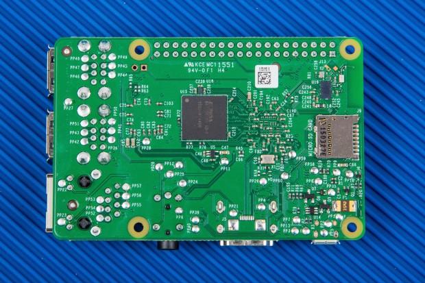 The back side of new Raspberry Pi 3 board.