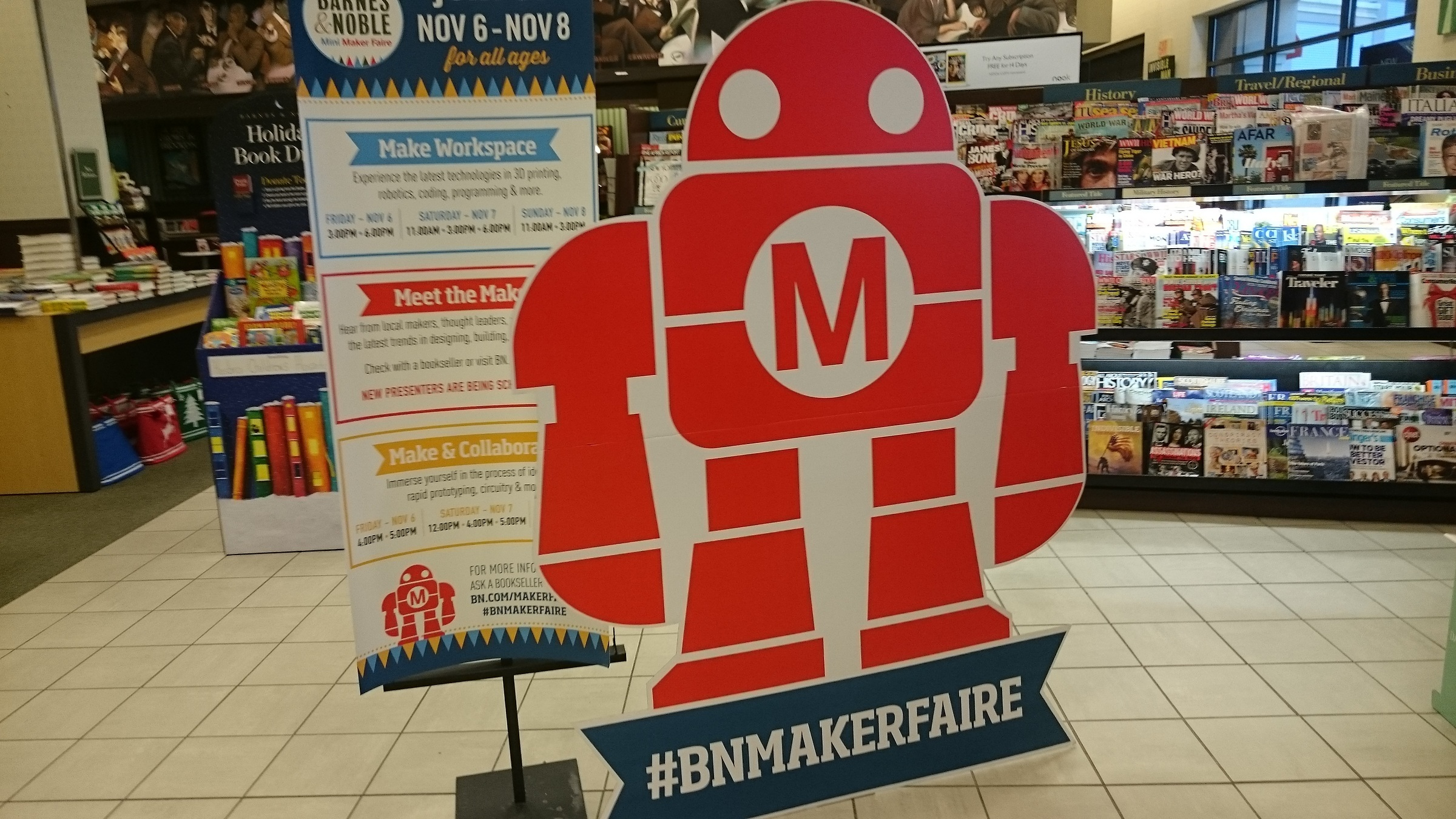 A cardboard standup of Mr Makey in Barnes and Noble Store.