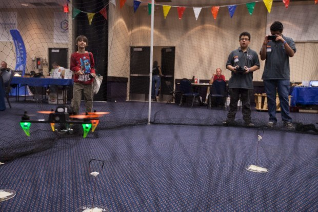 """Seth Welday: http://dronesmith.io/ """"The drone net and obstacle course — Photo by Julian Kilker"""""""