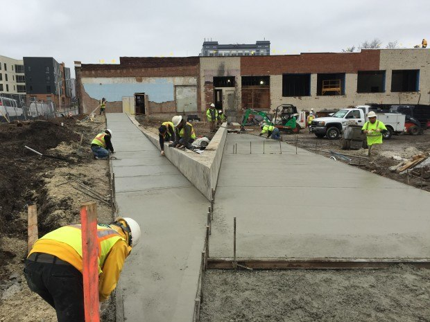 Finished sidewalks up to the main entrance. Business planning