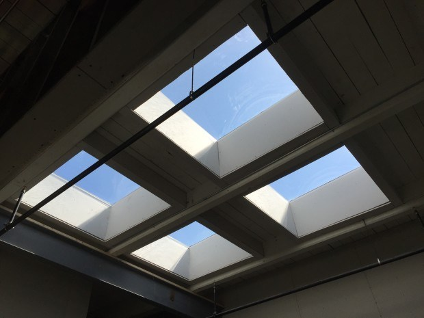 Our new skylights! They really change the quality of the space. Photograph by Will Holman.