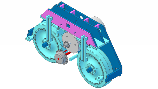 CAD view of the foot drive mechanicals.