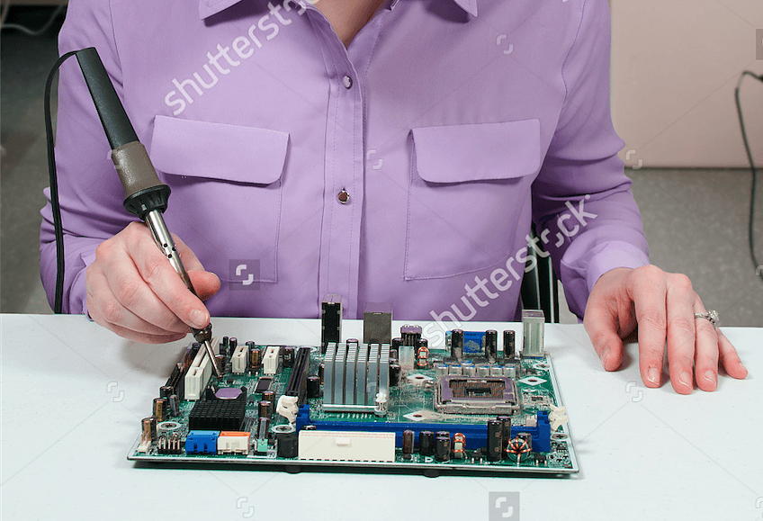"""Everything About This """"Beautiful Woman Soldering"""" Stock Photo Is Wrong"""