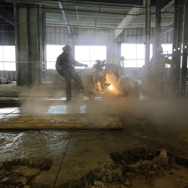 The mighty slab cutter in action.