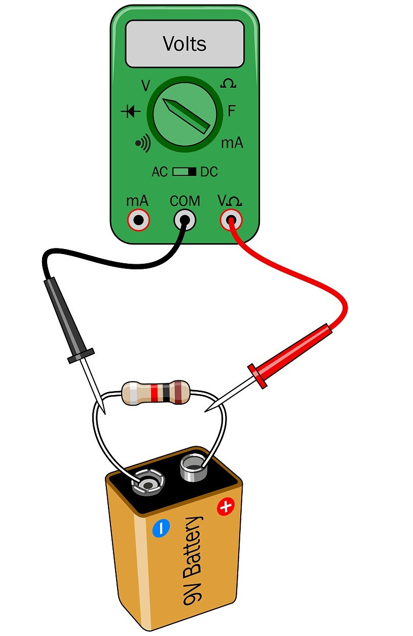 Multimeter Basics Measuring Voltage Resistance And Current Make Sensor Outline Circuit Measuringandtestcircuit Touch The Black Probe To Negative Side Of Power Supply Red Any Other Location In A Youll Monitor