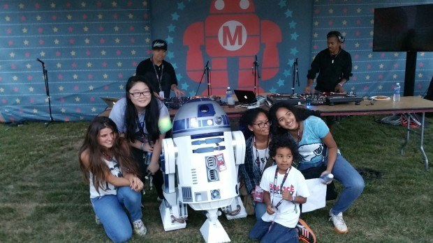 Partying with the DJ at World Maker Faire in New York.