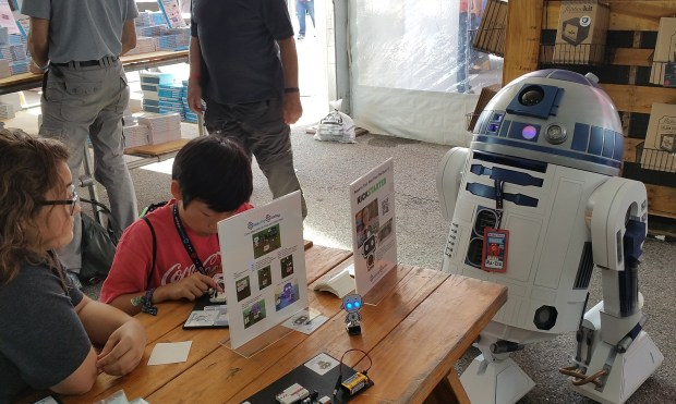 "R2 helping out with the Soldering Sunday ""Make with Us"" workshops in the Maker Shed"