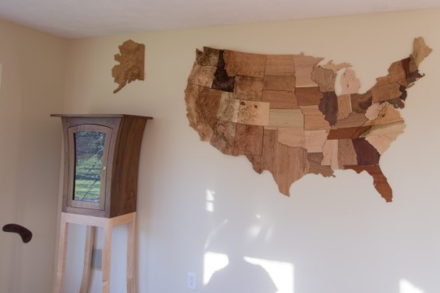 Alaska and Hawaii are not quite where they actually belong. It had to fit in the room, after all.