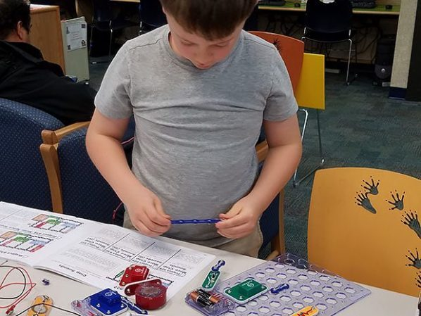 Snap Circuits and Little Bits were popular at many locations for those interested in electronics. Photo credit: Doug Baldwin