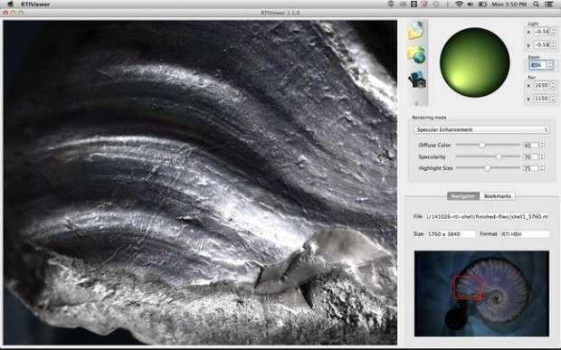 The RTIViewer program shows the close-up of an ammonite fossil. The specular highlights can be adjusted. The lighting angle is controlled by the position of the pointer in the green circle. Desired images can be exported in full resolution.