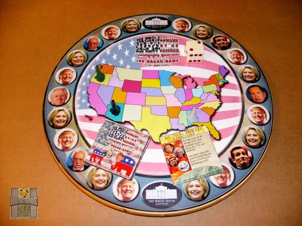 The rotating game board featuring the main players in the 2016 U.S. election race.