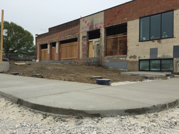 Sidewalk in the parking lot around the new main entrance. Photo by Will Holman