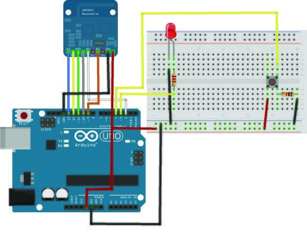 The smart light switch wiring, complete with Bluetooth module
