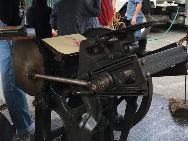 """A Chandler & Price """"Old Style"""" printing press, circa 1896. It take four rounds of precise printing for color: one each for black, magenta, cyan, and yellow. As cool as it was, I'm pretty happy with our current methods of printing issues of Make: (2:45 Craig Couden)"""