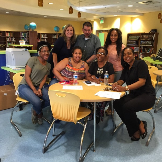 Focus group meeting with staff and faculty at Dallas Nicholas Elementary school in March. Photo by Will Holman
