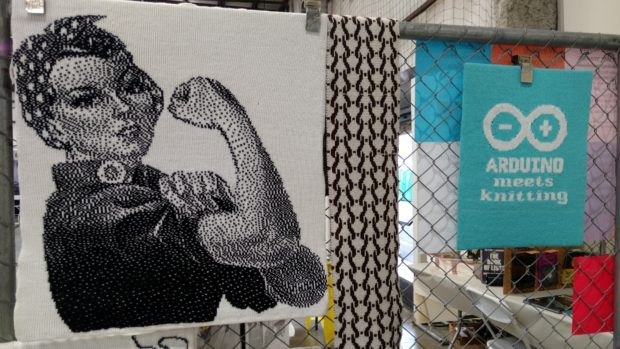 A sampling of the work knitted by the Machine Knitters Guild of the San Francisco Bay Area. Photo by Sophia Smith