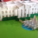 Papercut White House and lawn with fountain. Photo by Andrew Terranova