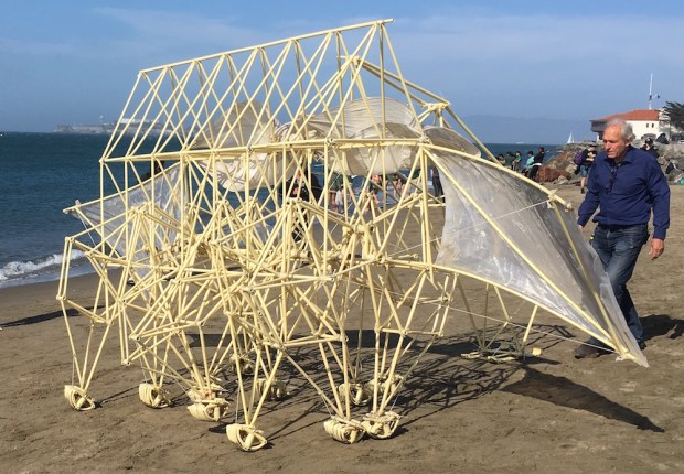 Theo Jansen guides the Strandbeest on Crissy Field, San Francisco