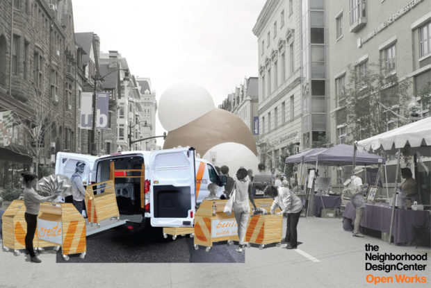 Deploying the carts at a street fair. Rendering by Sadie Dempsey. (1)