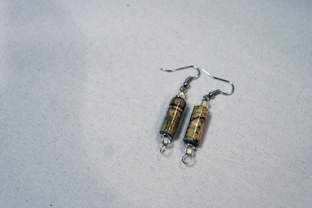 Upcycled paper earrings.