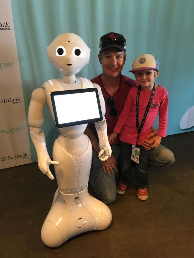 Ella and the author meet Pepper the robot.