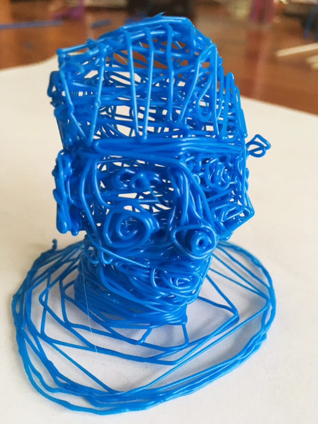 An unplanned doodle of a human head. Photo: Andrew Salomone.