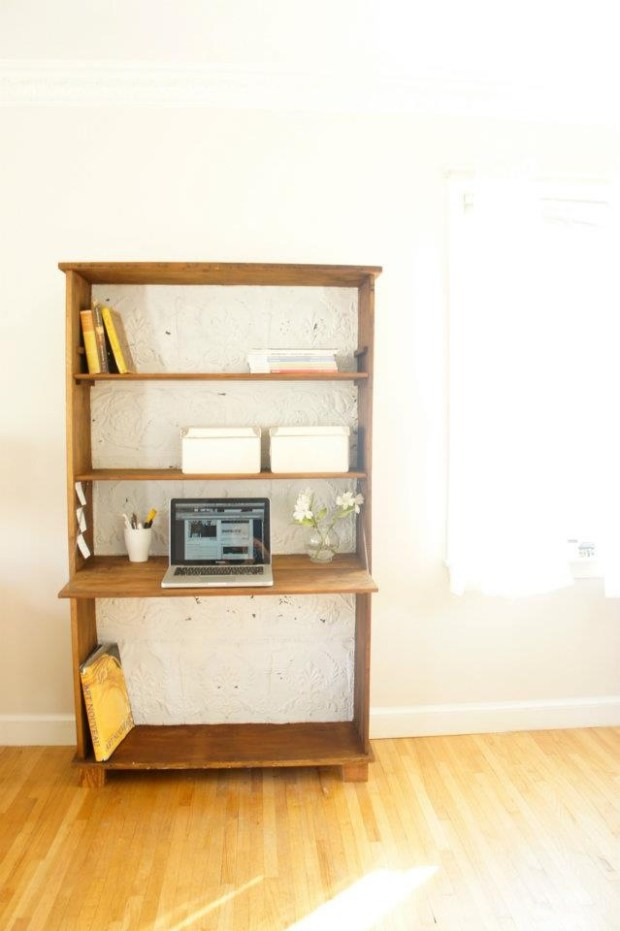 Bookcase with writing surface. Reclaimed wood and ceiling tiles
